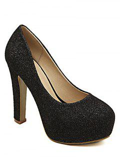 Sequined Cloth Platform Chunky Heel Pumps - Black 38