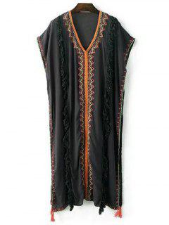 V Neck Batwing Sleeve Fringes Spliced Embroidery Dress - Black S