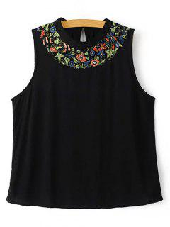 Floral Embroidery Round Neck Tank Top - Black S