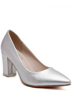 Pointed Toe Solid Color Pumps - Silver 37