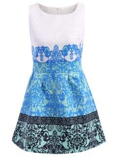 Retro Print Scoop Collar Sundress - Blue Xl