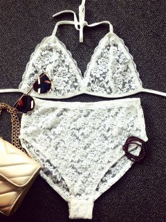 Lace Spaghetti Strap Bra And Briefs Lingeries Suit - White L
