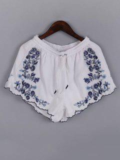 Embroidery Elastic Waist Drawstring Shorts - White S