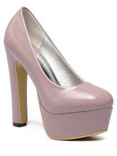 Platform Solid Color Patent Leather Pumps - Pink 39