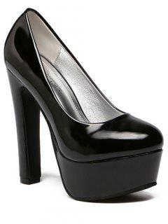 Platform Solid Color Patent Leather Pumps - Black 37