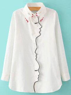 Embroidery Shirt Collar Figure Pattern Shirt - White L