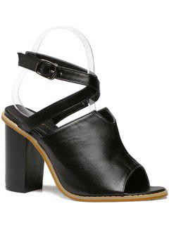 Cross Straps Black Chunky Heel Sandal - Black 38