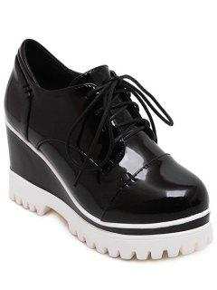 Patent Leather Black Tie Up Wedge Shoes - Black 37