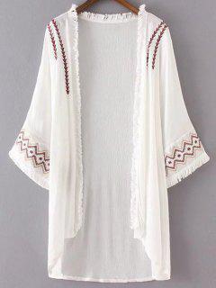 Embroidery Long Sleeve Fringes Kimono - White