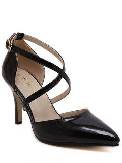 Cross Straps Solid Color Pointed Toe Pumps - Black 38