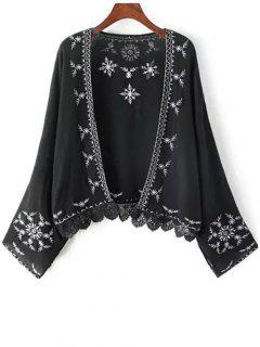 Embroidery Spliced Batwing Sleeve Kimono - Black