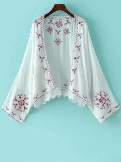 Embroidery Spliced Batwing Sleeve Kimono - White