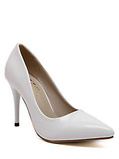 Stiletto Heel Patent Leather Solid Color Pumps - White 38
