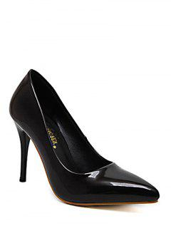 Stiletto Heel Patent Leather Solid Color Pumps - Black 38
