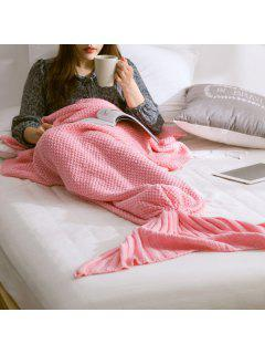 Warm Knitted Mermaid Tail Blanket - Pink M