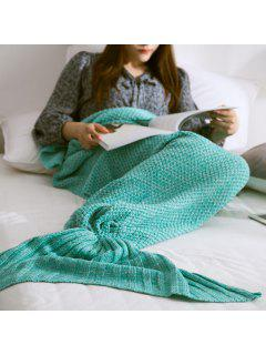 Warm Knitted Mermaid Tail Blanket - Mint Green M