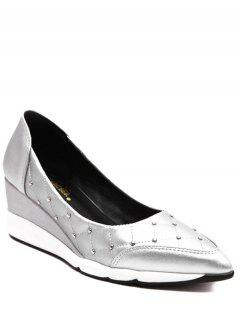 Argyle Pattern Rivets Wedge Shoes - Silver 38