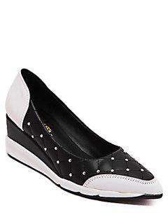 Modelo De Argyle Clava Los Zapatos De Cuña - Negro 38