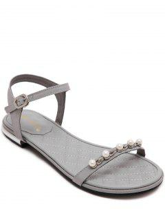 Beading Flat Heel Solid Color Sandal - Gray 38