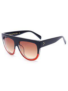 Simple Two Color Match Sunglasses - Red