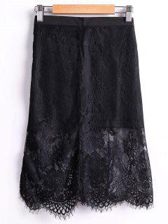 Falda Negro Empalmado Alta Cintura De Encaje - Negro L
