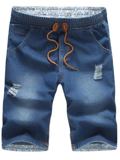 best Casual Distressed Design Drawstring Waistband Denim Jeans Shorts For Men - MEDIUM BLUE L Mobile