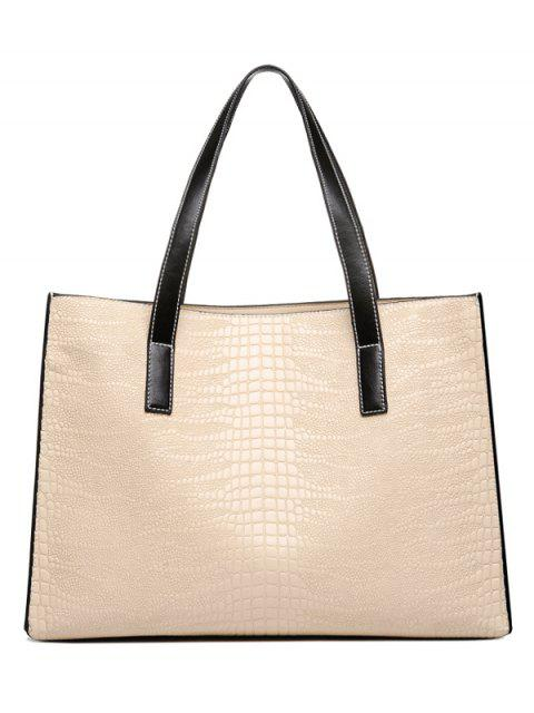 affordable Crocodile Embossed PU Leather Shoulder Bag - BEIGE  Mobile