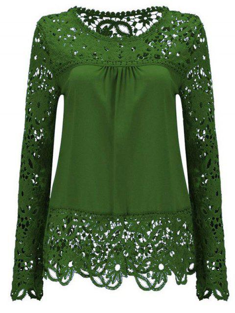 affordable Long Sleeve Sheer Lace Blouse - GREEN XL Mobile