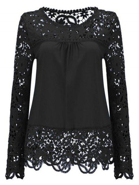 lady Long Sleeve Sheer Lace Blouse - BLACK L Mobile