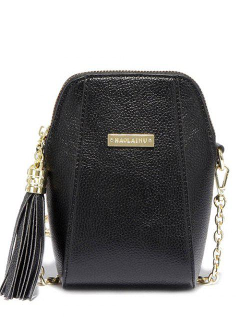 new Tassel Chains PU Leather Crossbody Bag - BLACK  Mobile