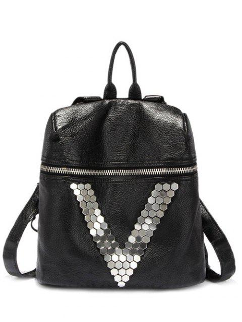 lady Metal Letter V Black Backpack - BLACK  Mobile