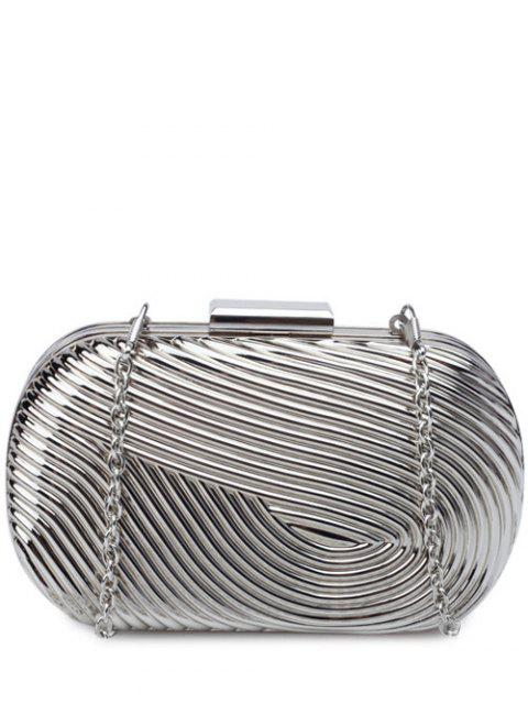 women Metallic Chains Evening Bag - SILVER  Mobile