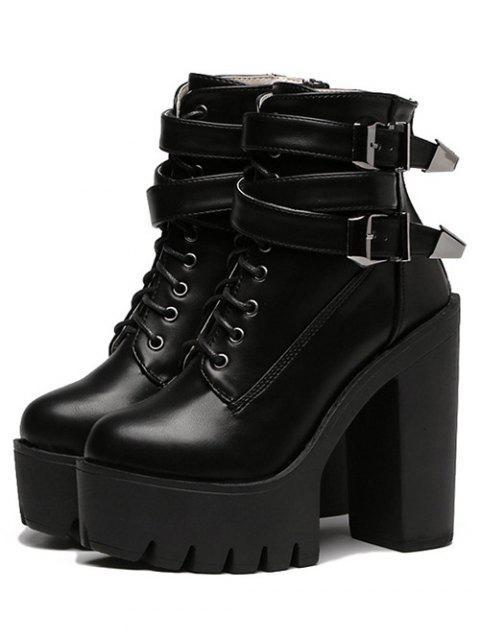 lady Double Buckle Platform Zipper Short Boots - BLACK 37 Mobile