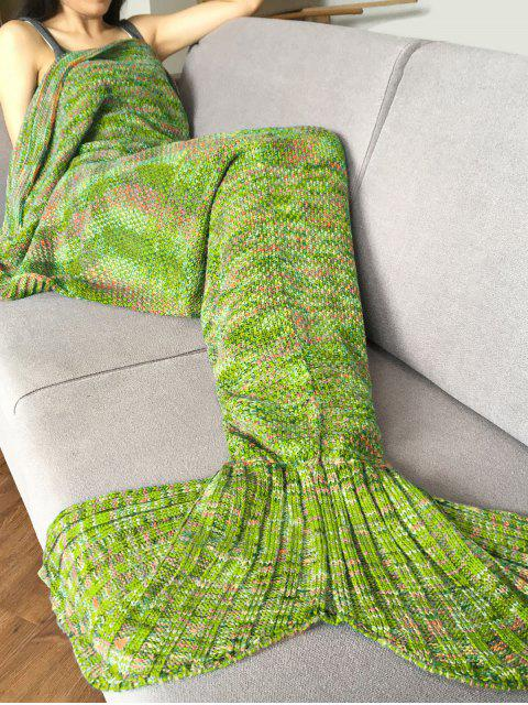 lady Knitted Super Soft Mermaid Tail Blanket - APPLE GREEN  Mobile