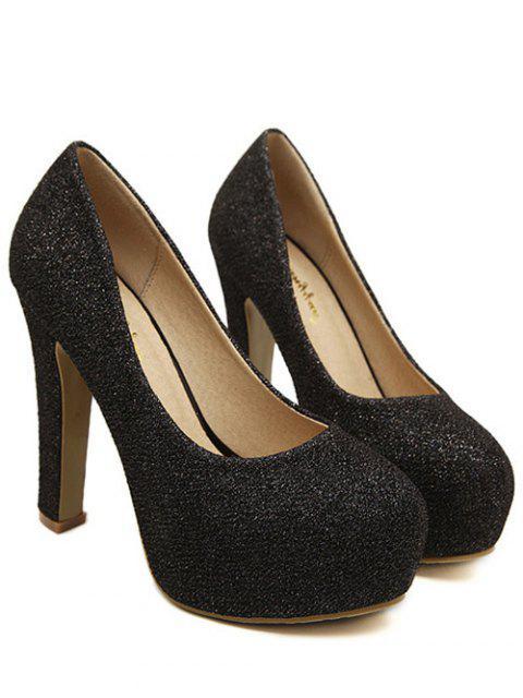 chic Sequined Cloth Platform Chunky Heel Pumps - BLACK 38 Mobile