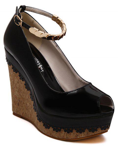 trendy Ankle Strap Metal Platform Peep Toe Shoes - BLACK 38 Mobile