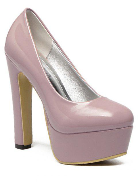 women Platform Solid Color Patent Leather Pumps - PINK 39 Mobile