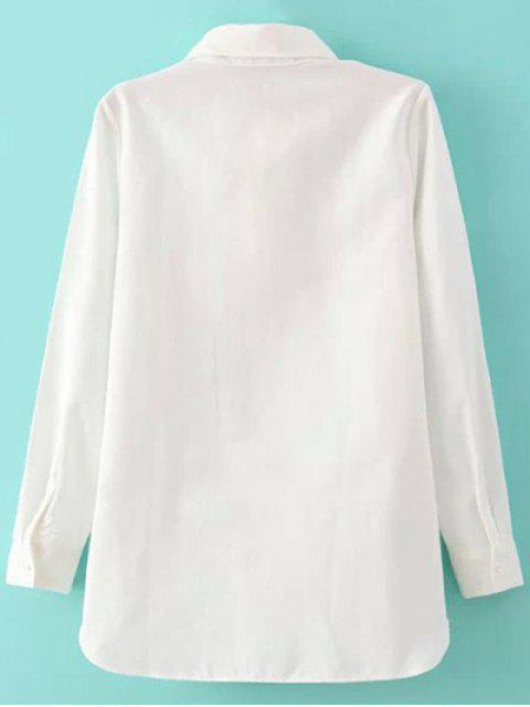 shop Embroidery Shirt Collar Figure Pattern Shirt - WHITE S Mobile