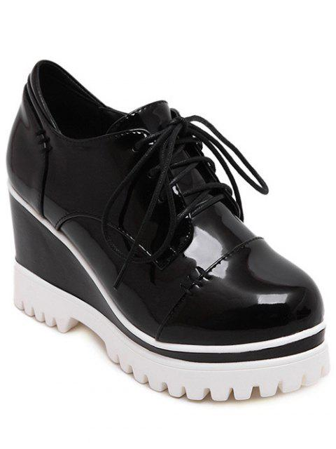 chic Patent Leather Black Tie Up Wedge Shoes - BLACK 37 Mobile
