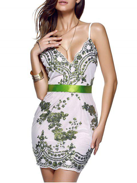 women's Spaghetti Strap V-Neck Sequined Floral Dress - GREEN M Mobile
