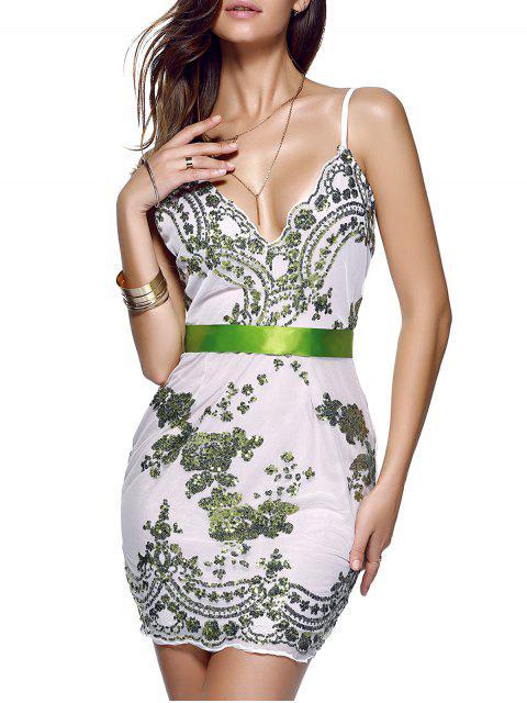women's Spaghetti Strap V-Neck Sequined Floral Dress - GREEN M Mobile