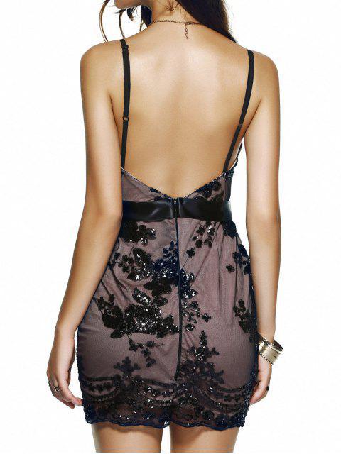 new Spaghetti Strap V-Neck Sequined Floral Dress - BLACK M Mobile