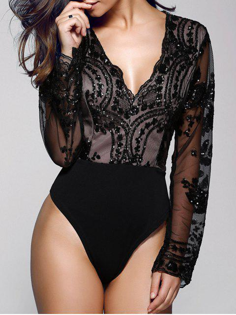 shops Floral Sequined Plunging Neck Long Sleeve Bodysuit - BLACK S Mobile