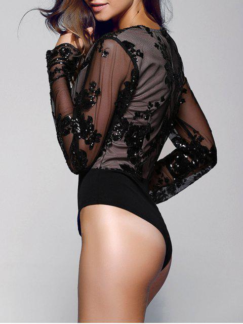 shops Floral Sequined Plunging Neck Long Sleeve Bodysuit - BLACK S Mobile