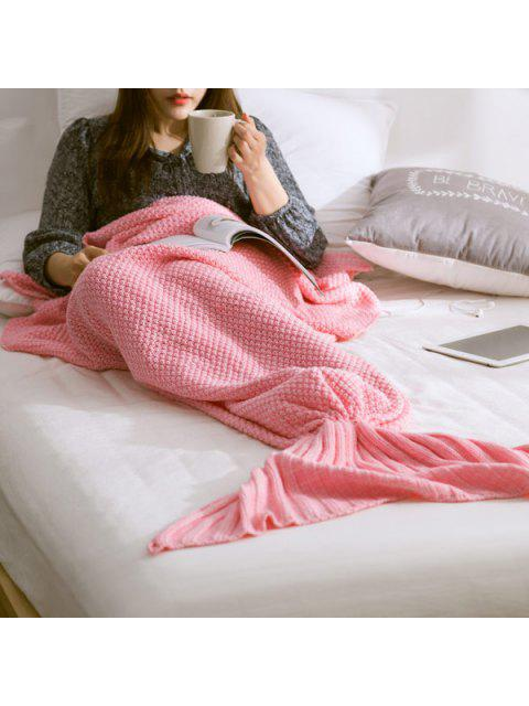 online Warm Knitted Mermaid Tail Blanket - PINK L Mobile