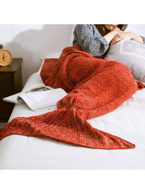 shop Warm Knitted Mermaid Tail Blanket - RED S Mobile