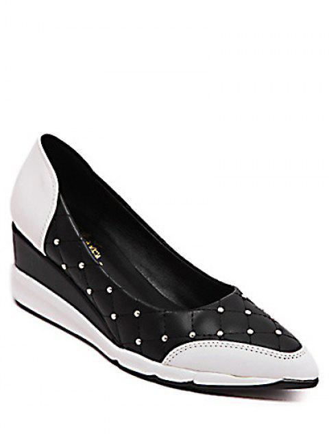 women Argyle Pattern Rivets Wedge Shoes - BLACK 38 Mobile