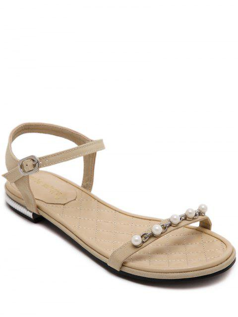 latest Beading Flat Heel Solid Color Sandal - LIGHT KHAKI 37 Mobile
