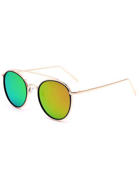 womens Crossbar Golden Mirrored Sunglasses -   Mobile