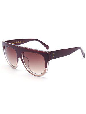 Simple Two Color Match Sunglasses - Tea-colored